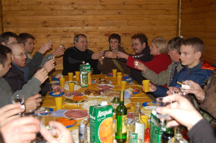 Mikhail Ryabko toasting our Systema group, 2007 Moscow.